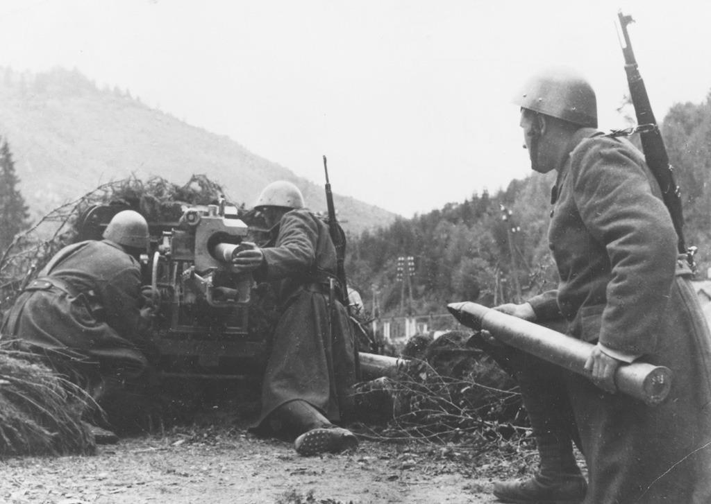 Pri Telgárte ukoristený 7,5 cm KPÚV nasadený v obrannom úseku Jánošík do konca okt. 1944, pod Kráľovou hoľou