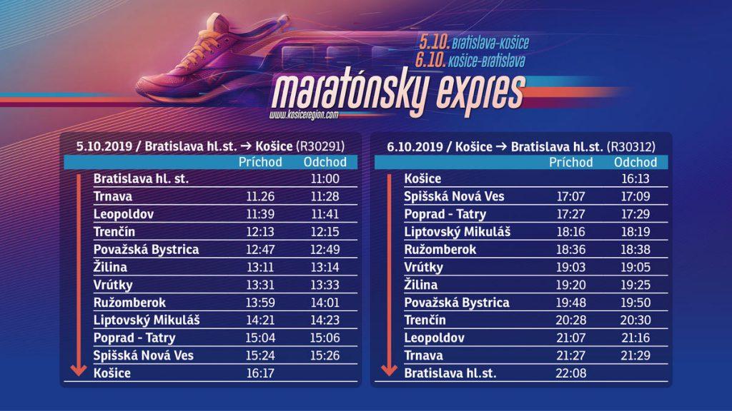Maratónsky Expres, cestovný poriadok