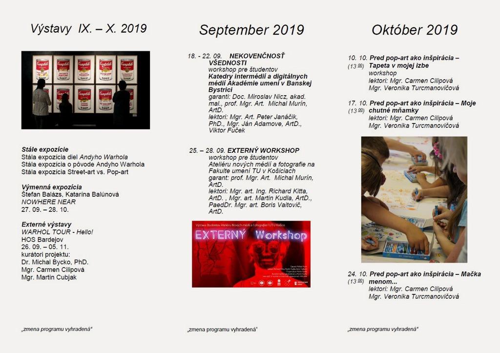 Program Andyho Warhola sept-okt 2019