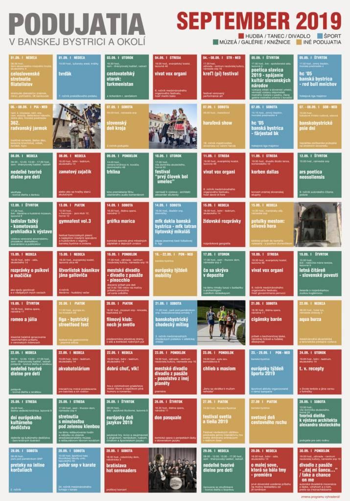 Kalendár Podujatí September 2019