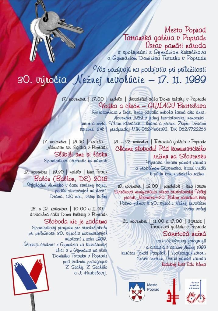 30. výročie Nežnej revolúcie, 1989 Sametova nezna Tatranska galeria