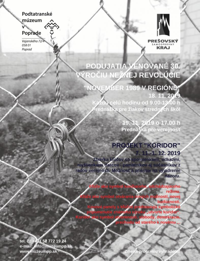 Podujatia pri príležitosti 30. výročia Nežnej revolúcie Podtatranské múzeum v Poprade