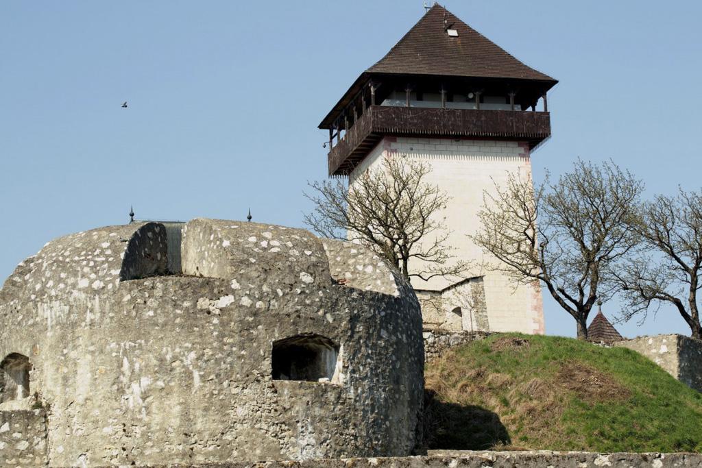 Pohľad na Trenčiansky hrad od Čerešňového sadu (z južnej strany)