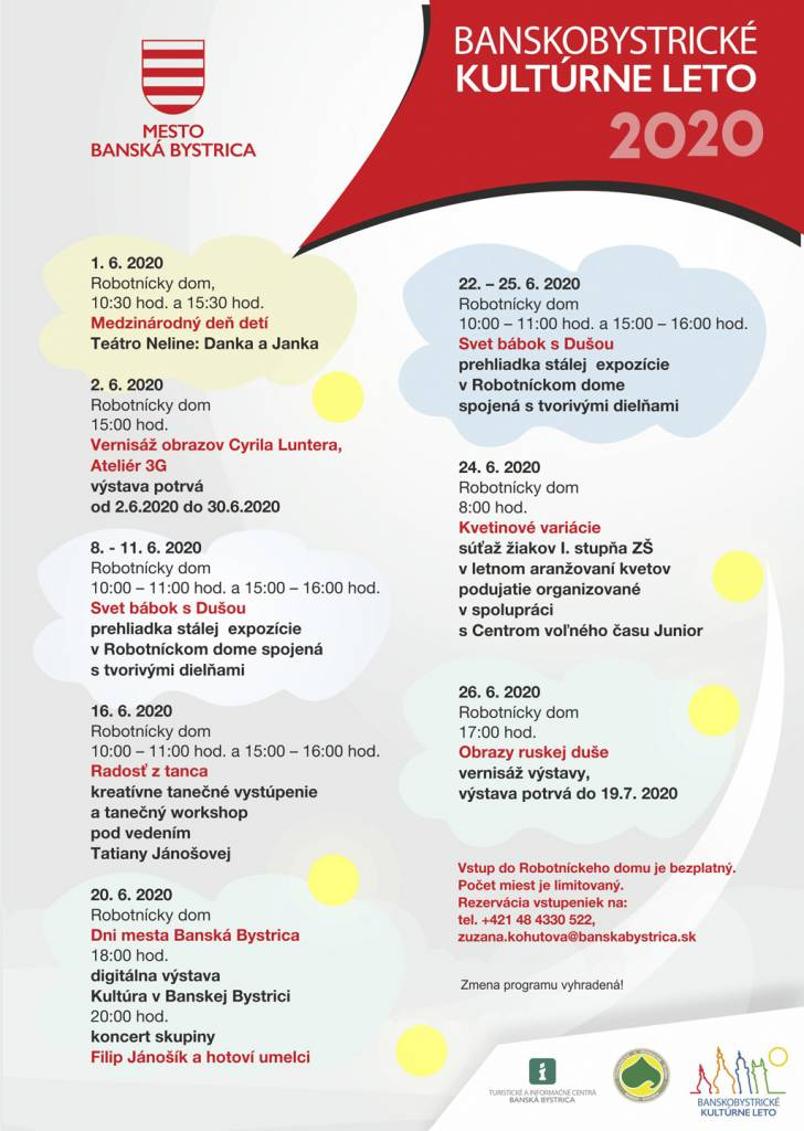 Banskobystrické kulturne leto 2020, Jun program v RD 2020