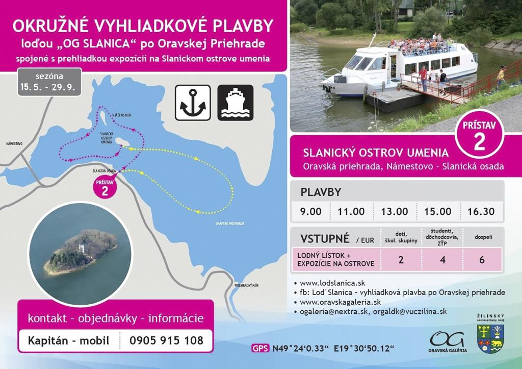 2020_Vyhliadkové plavby na Slanický ostrov umenia, Oravská priehrada
