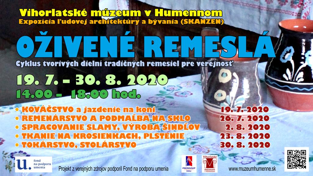 Vihorlatské múzeum v Humennom pozýva na letný zážitkový program v skanzene Oživené remeslá