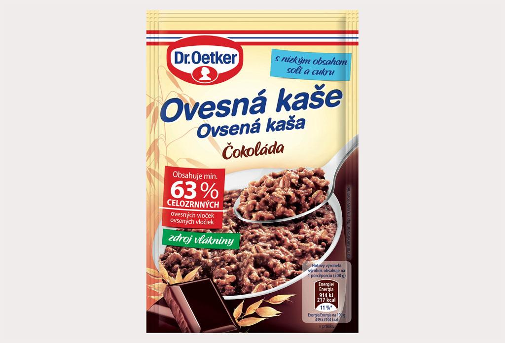 Dr Oetker prichádza s novou a vylepšenou receptúrou obľúbených ovsených kaší Ovesna kas Cokolada 58g kopie