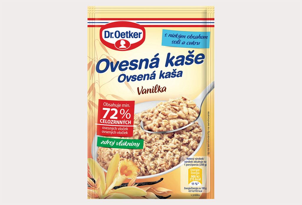 Dr Oetker prichádza s novou a vylepšenou receptúrou obľúbených ovsených kaší Ovesna kasa Vanilka 58 g kopie