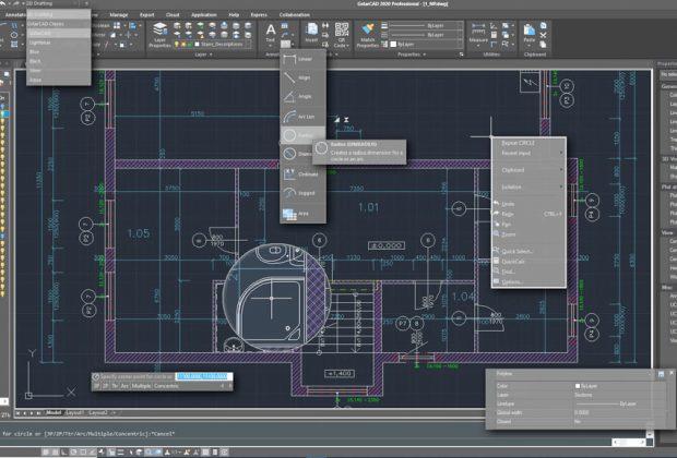 CAD programy uľahčia technické kreslenie vyberte si ten správny, GstarCAD-2020-Interface, autocad, autocad lt, program na technické kreslenie