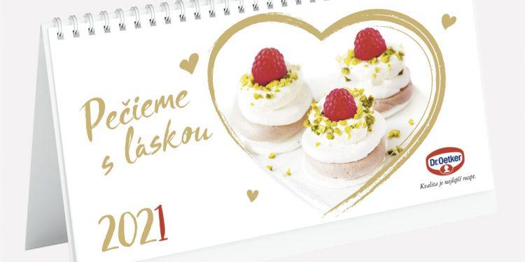 Pečieme s láskou aj v roku 2021! Nový kalendár obsahuje 12 originálnych sladkých receptov, stolni kalendar Dr Oetker 2021