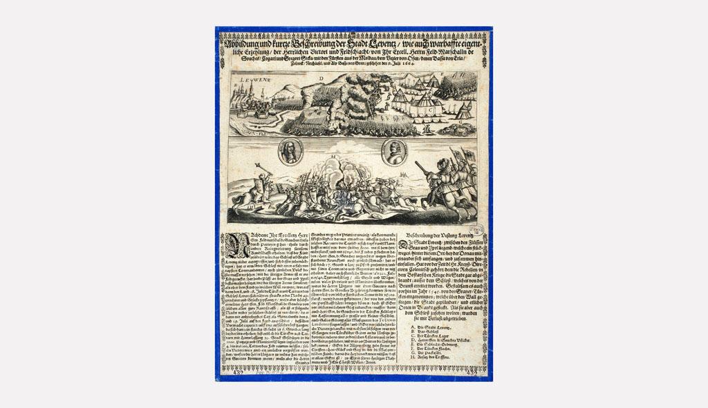 grafický list bitky pri Leviciach Západoeurópske grafické vydavateľstvá vydali niekoľko letákov a grafických listov zobrazujúcich bitku pri Leviciach. Na jednom letáku je zobrazený hrad a jeho obliehanie s dvomi portrétnymi medailónmi. V jednom je zobrazený generál de Souches a v druhom Štefan Koháry.