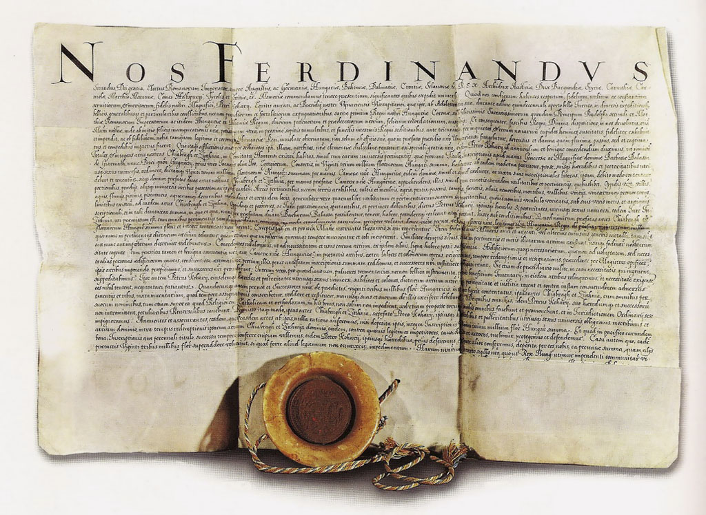 Listina kráľa Ferdinanda II. potvrdzujúca Petrovi Kohárymu majetok hradu Čabraď a Sitno.