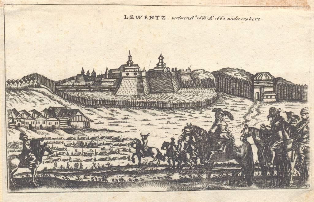 Levický hrad,Medirytina pevnosti amesta, 1664, leikon, história