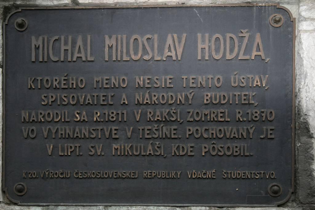 M.M. Hodža pamätná tabuľa, Múzeum Janka Kráľa, lexikon, história, osobnosti