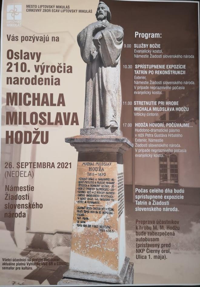 M.M. Hodža, 210. výročie narodenia, Múzeum Janka Kráľa